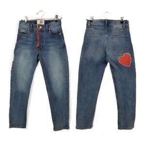 Revice sz 26 heart design slim straight jeans